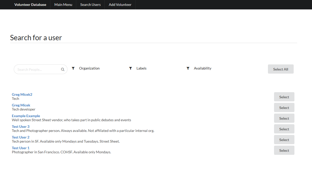 Octaria - Volunteer Management System - Search Users 1